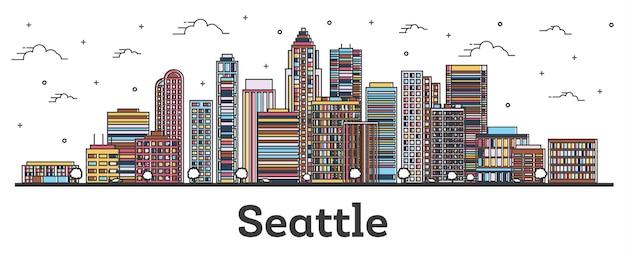 Наброски skyline сиэтл вашингтон с зданиями цвета, изолированные на белом. векторные иллюстрации. сиэтл сша городской пейзаж с достопримечательностями.