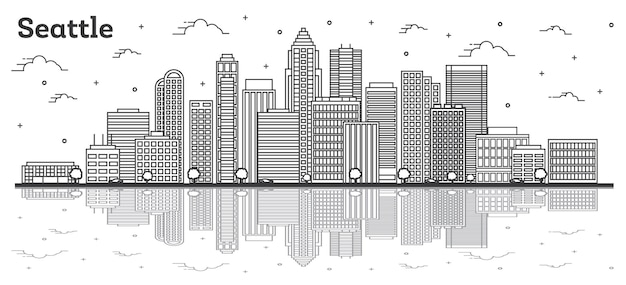 Наброски skyline сиэтл вашингтон с современными зданиями и размышлениями, изолированные на белом. векторные иллюстрации. сиэтл сша городской пейзаж с достопримечательностями.