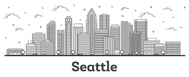 Наброски горизонта города сиэтл вашингтон с современными зданиями, изолированными на белом. векторные иллюстрации. сиэтл сша городской пейзаж с достопримечательностями.