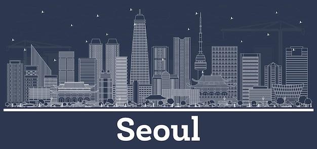 흰색 건물이 있는 대한민국 서울 스카이라인 개요. 벡터 일러스트 레이 션. 현대 건축과 비즈니스 여행 및 관광 개념입니다. 랜드마크가 있는 서울 풍경.