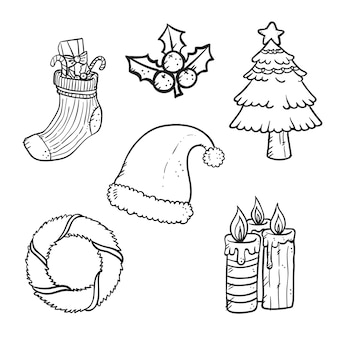 Outline set of christmas stickers