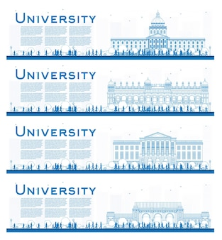 Outline set of university campus study banners. illustration