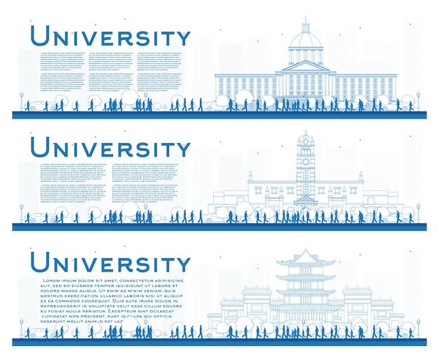 Outline set of university campus study banners. vector illustration. students go to the main building of university. banner with copy space.