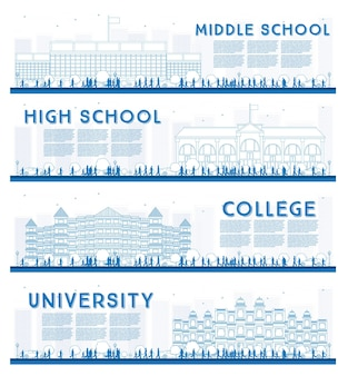 Outline set of university, high school and college study banners. vector illustration. students go to the main building of university. banner with copy space.