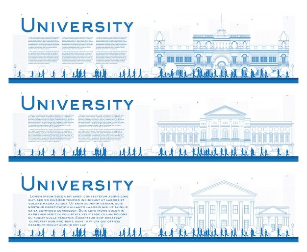 Outline set of university study banners.