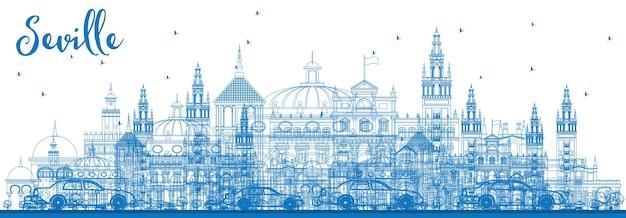 파란색 건물이 있는 세비야 스카이라인 개요. 벡터 일러스트 레이 션. 역사적인 건물과 비즈니스 여행 및 관광 개념입니다. 프레젠테이션 배너 현수막 및 웹사이트용 이미지.