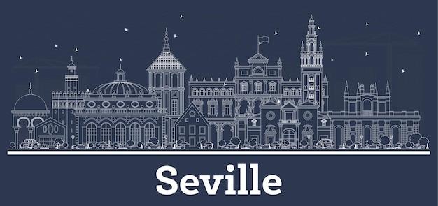 흰색 건물이 있는 세비야 스페인 도시 스카이라인 개요. 삽화