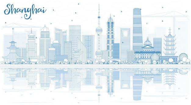 青い建物と反射で上海のスカイラインの概要を説明します。ベクトルイラスト。近代建築とビジネス旅行と観光の概念。プレゼンテーションバナープラカードとwebサイトの画像。