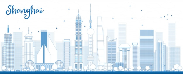 Outline shanghai skyline with blue skyscrapers.