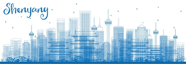 Outline shenyang skyline with blue buildings. vector illustration. business travel and tourism concept with modern buildings. image for presentation banner placard and web site.