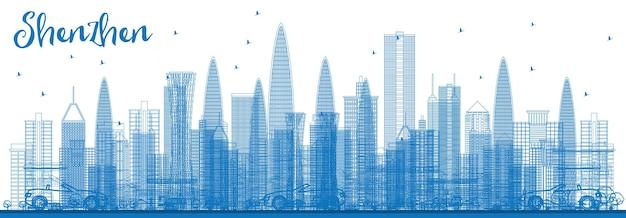 青い建物で深センのスカイラインの概要を説明します。ベクトルイラスト。近代建築とビジネス旅行と観光の概念。プレゼンテーションバナープラカードとwebサイトの画像。