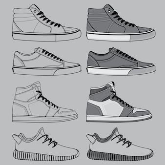 Outline of shoes set