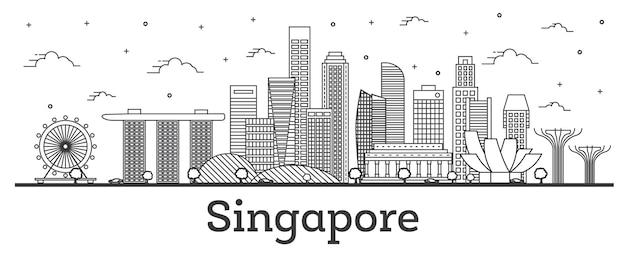 Наброски горизонта города сингапура с современными зданиями, изолированными на белом. векторные иллюстрации. городской пейзаж сингапура с достопримечательностями.