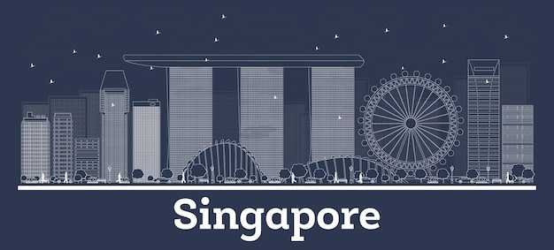 Outline singapore city skyline with white buildings. vector illustration. business travel and concept with modern architecture. singapore cityscape with landmarks.