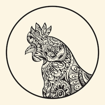 Outline skecth symbol of rooster chinese new year, ink style, free hand draw illustration
