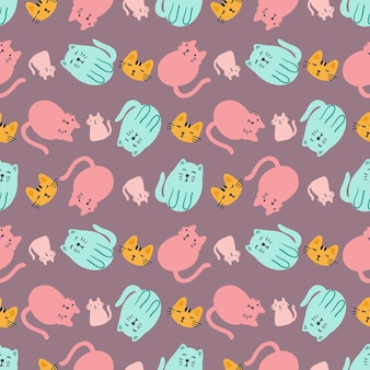 Outline sketch of cat animals with icons and design elements color