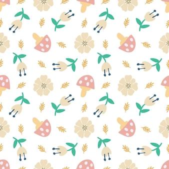 Наброски эскиз гриба и цветов с иконками и цветом элементов дизайна