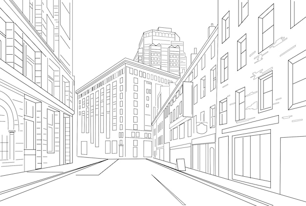 Outline sketch vector of an city