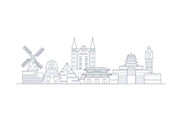Outline skyline landmarks monochrome