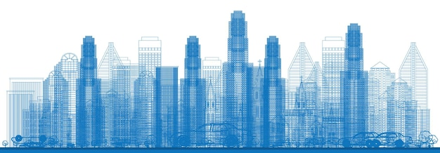 도시의 고층 빌딩이 있는 개요 스카이라인. 벡터 일러스트 레이 션.