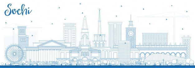Outline sochi russia city skyline with blue buildings. vector illustration. business travel and tourism concept with modern architecture. sochi cityscape with landmarks.