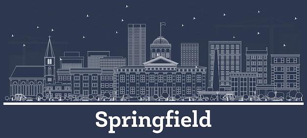 Наброски на фоне линии горизонта города спрингфилд, штат иллинойс, с белыми зданиями. векторные иллюстрации. деловые поездки и концепция с современной архитектурой. городской пейзаж сша спрингфилд с достопримечательностями.