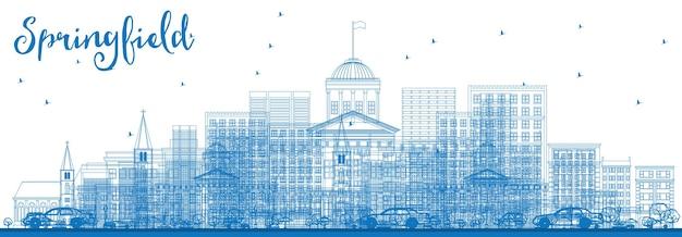 青い建物でスプリングフィールドのスカイラインの概要を説明します。ベクトルイラスト。との出張と観光のコンセプト。プレゼンテーションバナープラカードとwebサイトの画像。