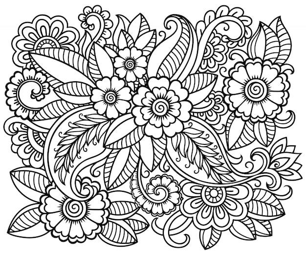 Контур квадратный цветочный узор в стиле менди для раскраски страницу книги. антистресс для взрослых и детей. каракули орнамент в черно-белом. рука рисовать иллюстрации.