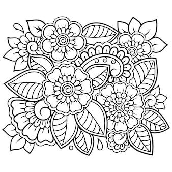 本のページを着色するための一時的な刺青スタイルの正方形の花柄の輪郭を描きます。落書き飾り。手描きイラスト。