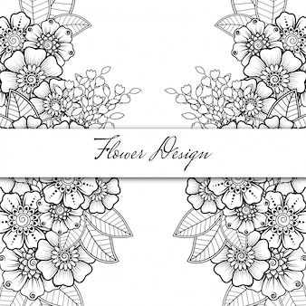 Outline square floral pattern in mehndi style. doodle ornament in black and white. hand draw illustration