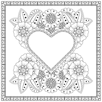 Outline square floral pattern in mehndi style for henna, mehndi, tattoo, decoration. decorative ornament in ethnic oriental style. doodle ornament. outline hand draw illustration. coloring page.