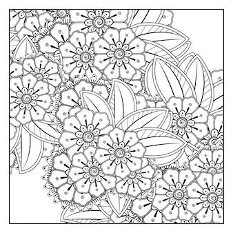 黒と白のページ落書き飾りを着色するための一時的な刺青スタイルの正方形の花の輪郭を描きます。