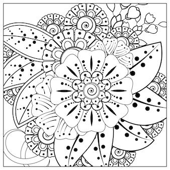Наброски квадратный цветочный узор в стиле менди для раскраски страницы книги каракули орнамент в черно-белом рука рисовать иллюстрацию