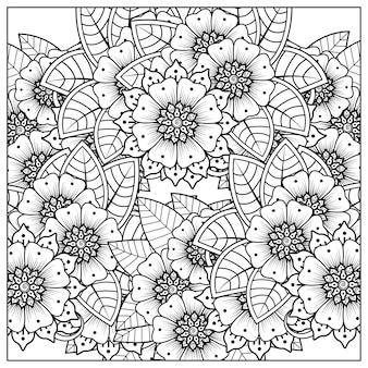 黒と白の手描きのイラストで本のページの落書き飾りを着色するための一時的な刺青スタイルの正方形の花のパターンを概説します。