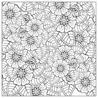 흑인과 백인 손으로 그리는 그림에서 책 페이지 낙서 장식을 색칠하기위한 멘디 스타일의 사각형 꽃 패턴 개요