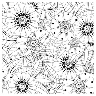 Outline square flower pattern in mehndi style for coloring book page doodle ornament in black and white hand draw illustration