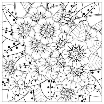 黒と白のページ落書き飾りを着色するための一時的な刺青スタイルの花の四角い輪郭。