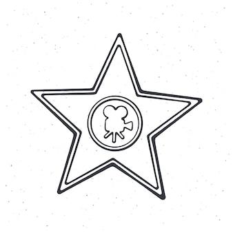 Outline of star shape award monument symbol of the film industry vector illustration