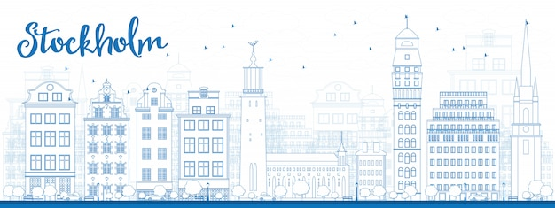 Outline stockholm skyline with blue buildings