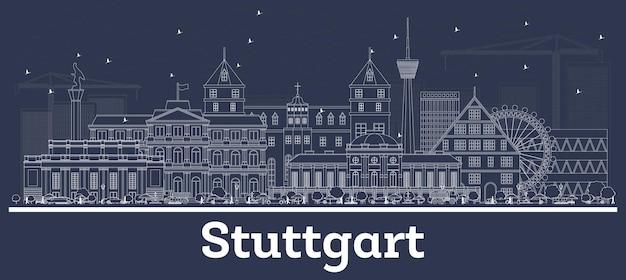 Наброски на фоне линии горизонта города штутгарт германия с белыми зданиями. векторные иллюстрации. деловые поездки и концепция с исторической архитектурой. городской пейзаж штутгарта с достопримечательностями.