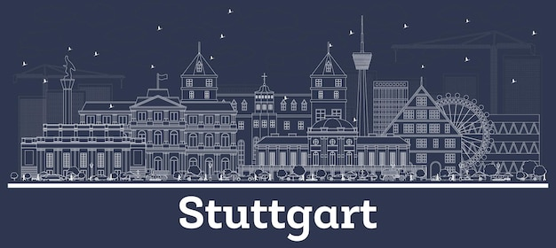 Outline stuttgart germany city skyline with white buildings. vector illustration. business travel and concept with historic architecture. stuttgart cityscape with landmarks.