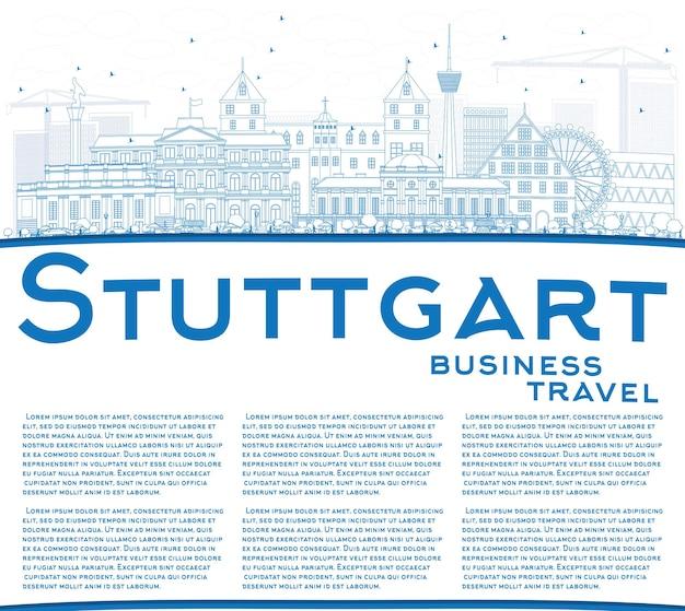 Очертите горизонт штутгарта с синими зданиями и копией пространства. векторные иллюстрации. деловые поездки и концепция туризма с исторической архитектурой. изображение для презентационного баннера и веб-сайта.