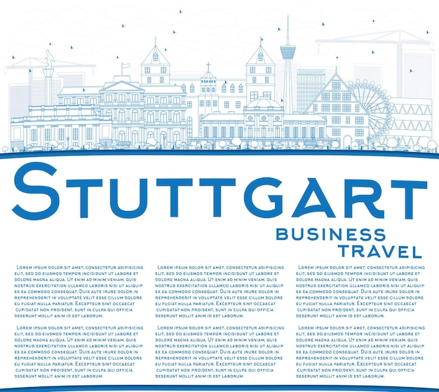 Outline stuttgart skyline with blue buildings and copy space. vector illustration. business travel and tourism concept with historic architecture. image for presentation banner placard and web site.