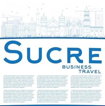 青い建物とコピースペースでスクレスカイラインの輪郭を描きます。ベクトルイラスト。歴史的な建築とビジネス旅行と観光の概念。プレゼンテーションバナープラカードとwebサイトの画像。