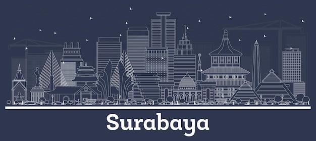 Очертите горизонт города сурабая индонезия с белыми зданиями. векторные иллюстрации. деловые поездки и концепция с исторической архитектурой. городской пейзаж сурабая с достопримечательностями.