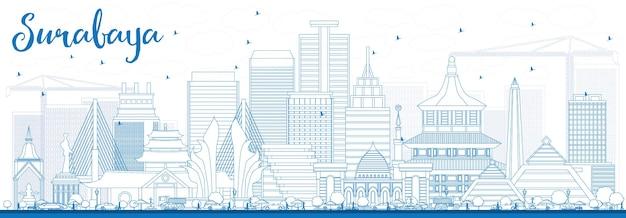 青い建物でスラバヤのスカイラインの概要を説明します。ベクトルイラスト。近代建築とビジネス旅行と観光の概念。プレゼンテーションバナープラカードとwebサイトの画像。