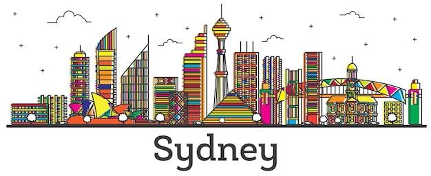 Наброски на фоне линии горизонта города сидней австралия с цветными зданиями, изолированными на белом. векторные иллюстрации. сиднейский городской пейзаж с достопримечательностями.