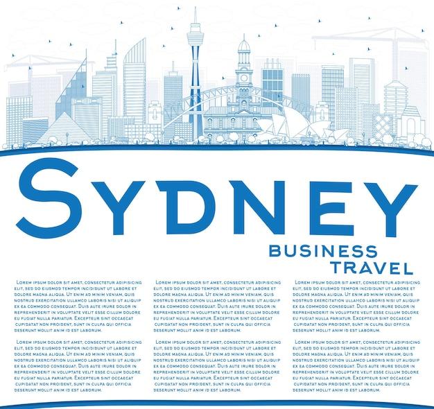 Наброски sydney australia skyline с синими зданиями и копией пространства векторные иллюстрации