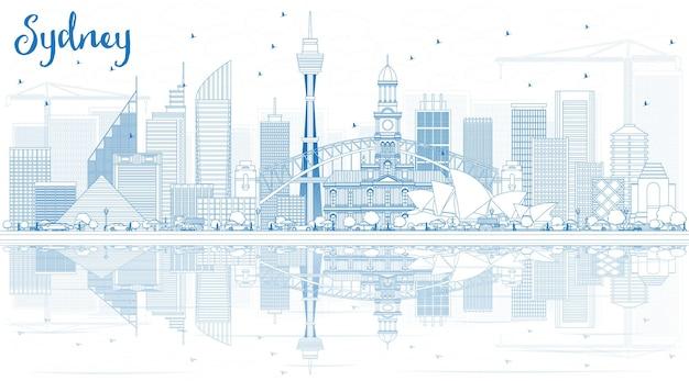Наброски sydney australia skyline с синими зданиями и отражениями векторные иллюстрации