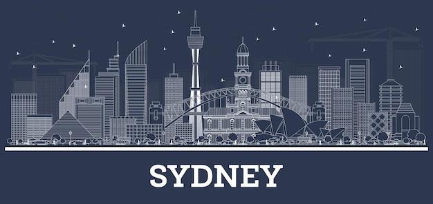 Очертите горизонт сиднея австралии с белыми зданиями. векторные иллюстрации. деловые поездки и концепция туризма с современной архитектурой. сиднейский городской пейзаж с достопримечательностями.